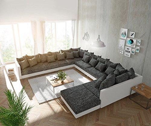couch clovis xxl weiss schwarz mit hocker ottomane links wohnlandschaft m bel24. Black Bedroom Furniture Sets. Home Design Ideas