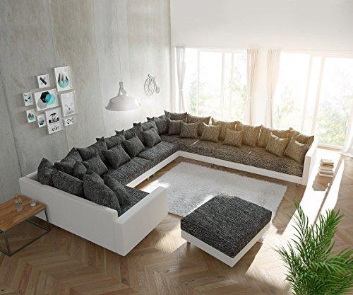 Couch Clovis XXL Weiss Schwarz mit Hocker und Armlehne Ottomane Rechts Wohnlandschaft