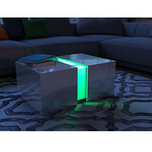 couchtisch led wei hochglanz loungetisch wohnzimmer. Black Bedroom Furniture Sets. Home Design Ideas