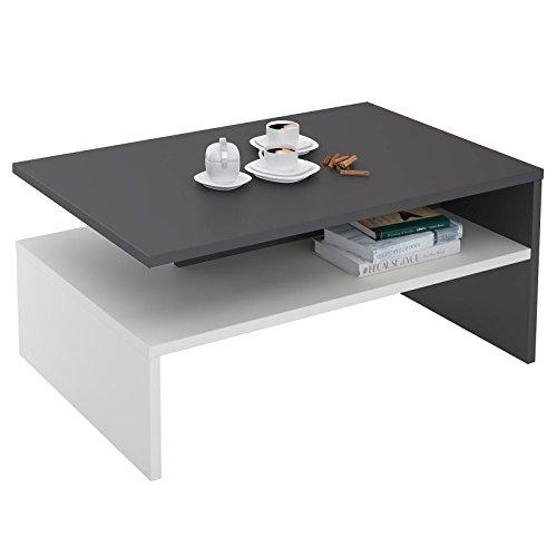 CARO-Möbel Couchtisch Wohnzimmertisch Beistelltisch PAULINA in anthrazit grau/weiß 90 x 60 cm mit Ablagefach
