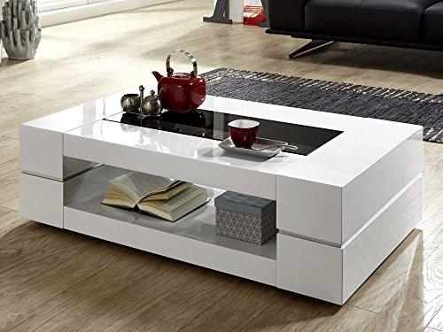 Couchtisch weiß Hochglanz mit Glasplatte Sera 120x70cm Glastisch