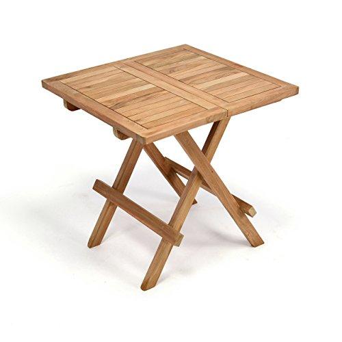 DIVERO Balkontisch Gartentisch Tisch Beistelltisch Holz Teak klappbar 50 cm