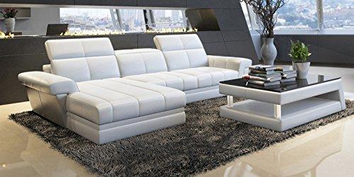 design ecksofa ledersofa wei asti polsterecke couchgarnitur teilleder m bel24. Black Bedroom Furniture Sets. Home Design Ideas