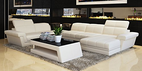 design leder wohnlandschaft xxl ledersofa wei asti polsterecke couchgarnitur teilleder m bel24. Black Bedroom Furniture Sets. Home Design Ideas