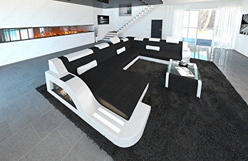 Designer Stoff Wohnlandschaft Palermo XXL schwarz- weiß