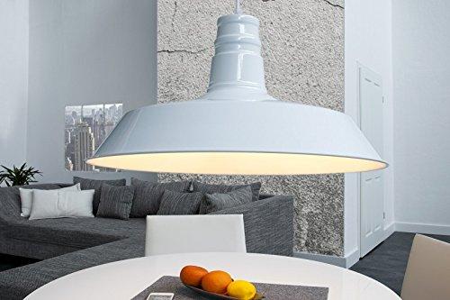 DuNord Design Hängelampe Hängeleuchte INDUSTRIAL weiss 45 cm