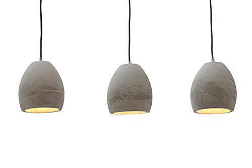 DuNord Design Hängelampe Pendellampe B-TONG 3er Beton grau Industrie Design Lampe Leuchte