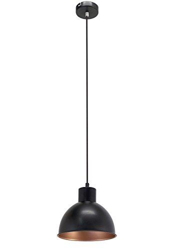 EGLO 49238 Hängeleuchte Truro Stahl Durchmesser 21 cm E27 Vintage, schwarz/kupfer