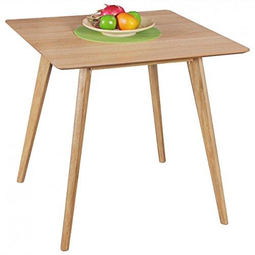 FineBuy Esszimmertisch aus MDF Holz | Esstisch mit quadratischer Tischplatte | Robuster Küchen-Tisch im Retro Stil | Holz-Tisch in skandinavischem Design | Tisch in Eichenfurnier