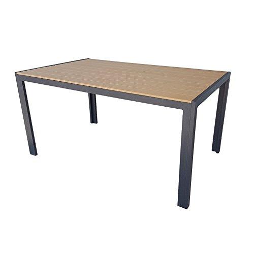 Gartentisch mit Kunst Holz Polywood Aluminium Metall Gestell