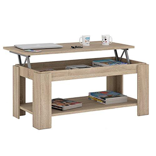 Habitdesign 001639F Couchtisch, ausfahrbare Tischplatte, mit integriertem Zeitungsständer, Eiche natur 102x 50x 43/54cm Höhe