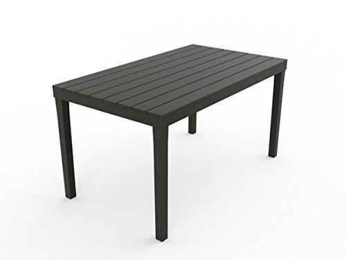 """Kunststoff Gartentisch """"Sumatra anthrazit"""" mit Platte in Holz Optik, 140 x 80 cm, von IPAE Progarden, MADE IN EUROPE"""
