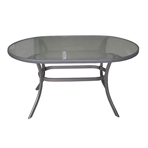 Moderner Alu Gartentisch 140x90cm Glastisch mit geriffelter Tischglasplatte oval Terrassentisch Balkontisch