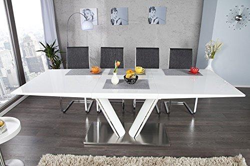 Casa Padrino Moderner Yacht Design Esstisch Weiß/Metall Hochglanz Ausziehbar 160-220 cm Esszimmer Tisch