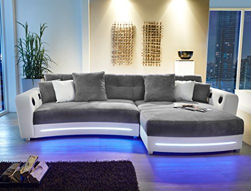 multimedia sofa larenio hifi wohnlandschaft 322 200 cm grau wei couch mikrofaser hi fi led. Black Bedroom Furniture Sets. Home Design Ideas