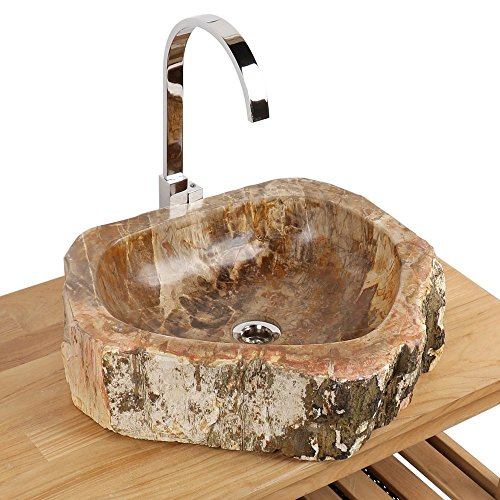 Naturstein Aufsatzwaschbecken Waschschale Waschbecken fossiles Holz 51x44x14 cm
