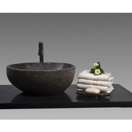WOHNFREUDEN Naturstein Waschbecken aus Stein 40 cm poliert Steinwaschbecken Waschtisch