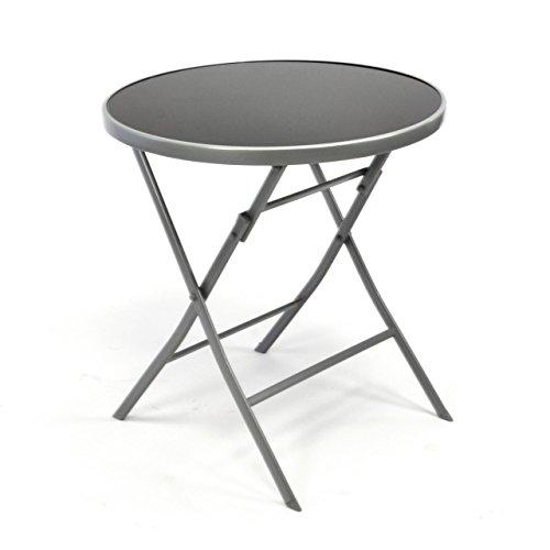 nexos bistrotisch mit glasplatte klappbar terrassentisch gartentisch glastisch schwarz m bel24. Black Bedroom Furniture Sets. Home Design Ideas