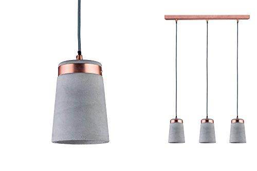 paulmann 79626 neordic stig pendelleuchte e27 grau kupfer matt 230v beton metall. Black Bedroom Furniture Sets. Home Design Ideas