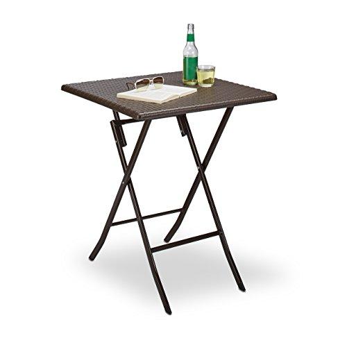 Relaxdays Gartentisch klappbar BASTIAN, rund, quadratisch oder rechteckig, Kunststoff, Rattan-Optik, verschiedene Farben