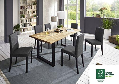 SAM 7tlg. Tischgruppe, 1 x Esszimmertisch und 6 x Polsterstühle, Tisch aus FSC® 100% zertifiziertem Eichenholz, Esszimmerstühle mit Samolux®-Bezug, 180 x 90 cm