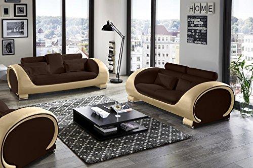 Sam Design Garnitur Vigo 2 Teilig In Braun Braun Creme Futuristisches Design 3 Sitzer Couch 230