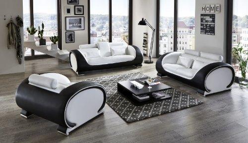 SAM Garnitur Vigo 3 teilig , weiß / schwarz, Couch aus Kunstleder