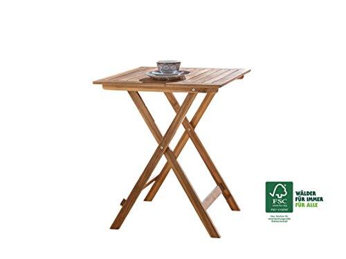 SAM® Gartentisch Blossom, ca. 60x60 cm, klappbarer Tisch, Akazien-Holz, FSC® 100% zertifiziert, für Balkon und Garten