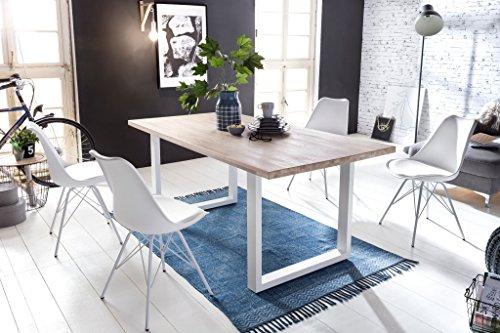 SAM® Stilvoller Esszimmertisch Miami Beach mit weißem Tischgestell, 100% FSC-zertifizierte Eiche, massiv bianco, 4 cm dicke Tischplatte, zeitlose Optik, 180 x 90 cm
