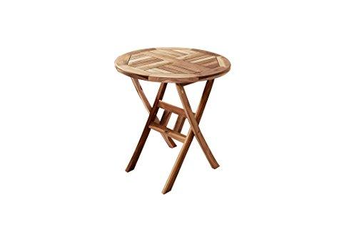 SAM® Teak-Holz Balkontisch, Gartentisch, 70 cm Durchmesser, zusammenklappbarer Tisch aus Massivholz, leicht zu verstauen, ideal für Ihren Garten [521426]