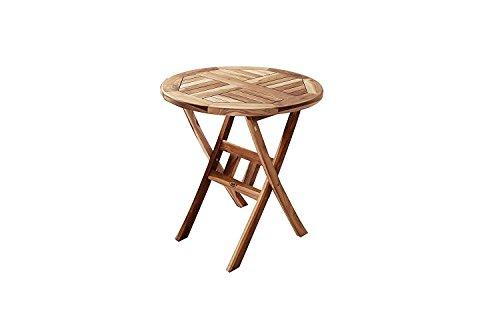 SAM® Teak-Holz Balkontisch, Gartentisch, Holztisch in rund, 80 cm Durchmesser, zusammenklappbarer Tisch, leicht zu verstauen
