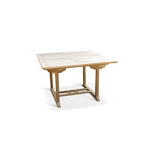 SAM® Teak-Holz Gartentisch, Balkontisch, 120 - 170 x 120 cm, massiver, ausziehbarer Holztisch, ideal für Ihren Balkon oder Garten [53262604]
