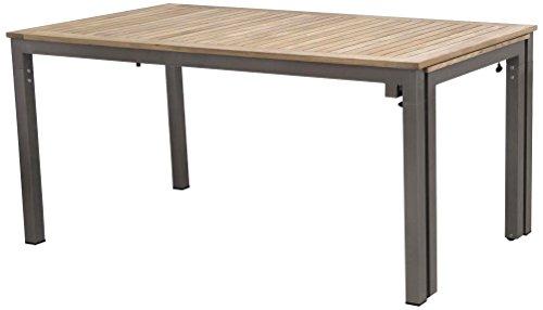 Siena Garden 254847 Ausziehtisch Geneva, 160/260x90cm Aluminium-Gestell bronze Tischplatte Teakholz FSC® 100%