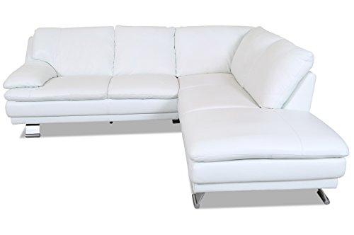 Sofa Couch Editions Leder Ecksofa XL U118 - Weiss mit Federkern