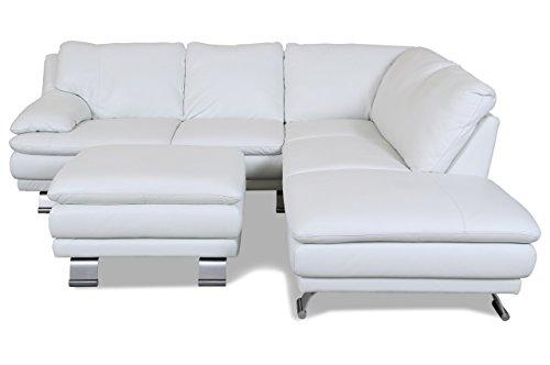 Sofa Couch Editions Leder Ecksofa XL U118 mit Hocker - Weiss mit Federkern