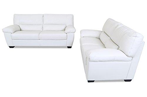Sofa Couch Editions Leder Garnitur 3-2 U172 - Weiss mit Federkern