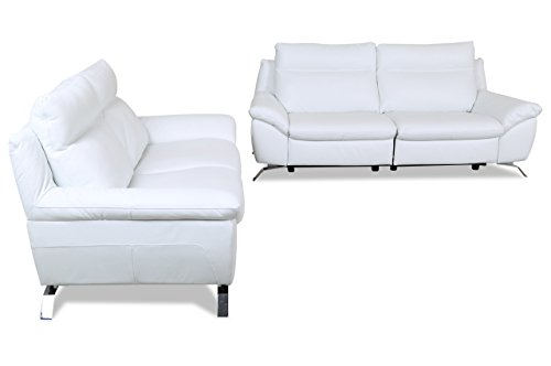 sofa couch editions leder garnitur 3 2 z943 mit relax weiss mit federkern m bel24. Black Bedroom Furniture Sets. Home Design Ideas