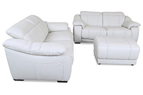 Sofa Couch Editions Leder Garnitur U076 mit Hocker - Weiss mit Federkern