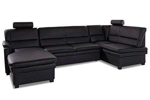Sofa Couch Leder Wohnlandschaft Pisa - Schwarz mit Federkern