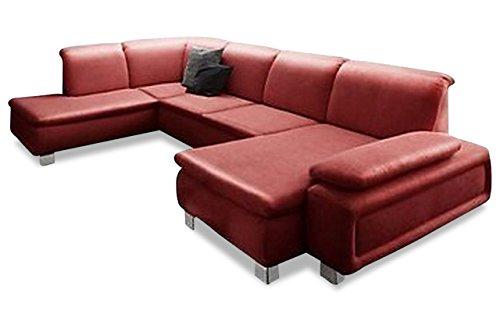 Sofa Couch Sit&More Leder Wohnlandschaft New Castle - mit Schlaffunktion - Rot