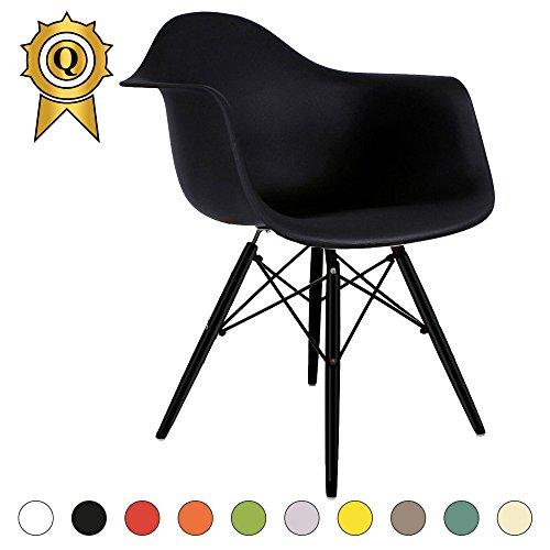VERKAUF! 1 x Design-Stuhl Eiffel Stil Schwarz Holz Beine und Sitz Farbe Master Mobistyl® DAWB-M-1