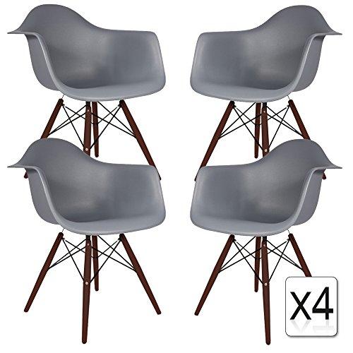 VERKAUF! 4 x Design-Stuhl Eiffel Stil Walnussholz Beine und Sitz Farbe Dark grau Mobistyl® DAWD-DG-4