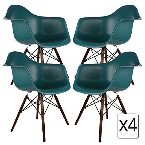 verkauf 4 x design stuhl eiffel stil walnussholz beine und sitz farbe ocean blau mobistyl dawd. Black Bedroom Furniture Sets. Home Design Ideas