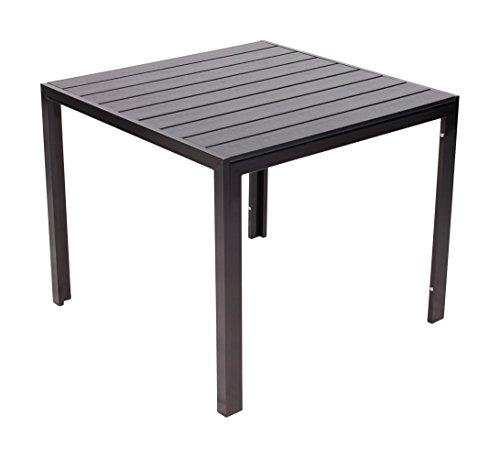 Vanage Esstische Polywood-Alu Gartentisch mit Aluminiumgestell 90 x 90 Helsinki