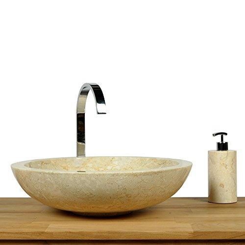 WOHNFREUDEN Marmor Waschbecken 45 cm ✓ rund poliert creme ✓ Naturstein Waschplatz Handwaschbecken Steinwaschschale Naturstein-Aufsatzwaschbecken für Ihr Bad ✓ schnell & versandkostenfrei