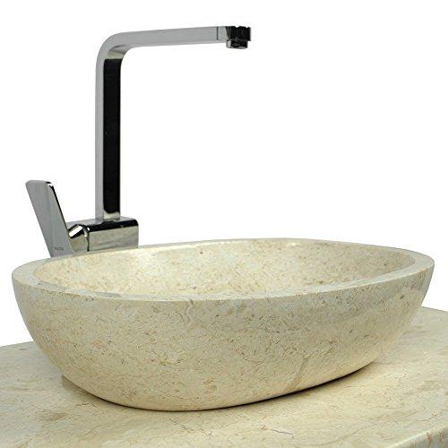 wohnfreuden marmor waschbecken mara 45 cm creme naturstein waschschale handwaschbecken rund. Black Bedroom Furniture Sets. Home Design Ideas