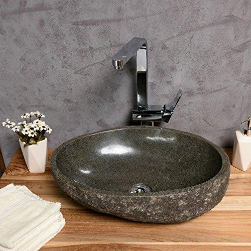 wohnfreuden naturstein waschbecken 40 cm oval aussen natur einzeln geprft und fotografiert. Black Bedroom Furniture Sets. Home Design Ideas