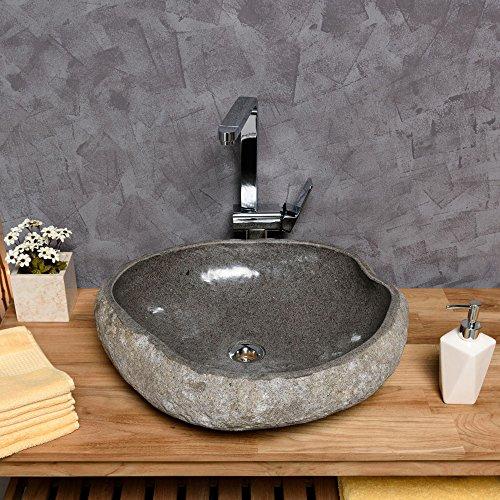 WOHNFREUDEN Naturstein Waschbecken 50 cm ✓ aussen natur innen poliert ✓ Steinwaschbecken Waschschale Findling Granit Flusskiesel Waschplatz versandkostenfrei