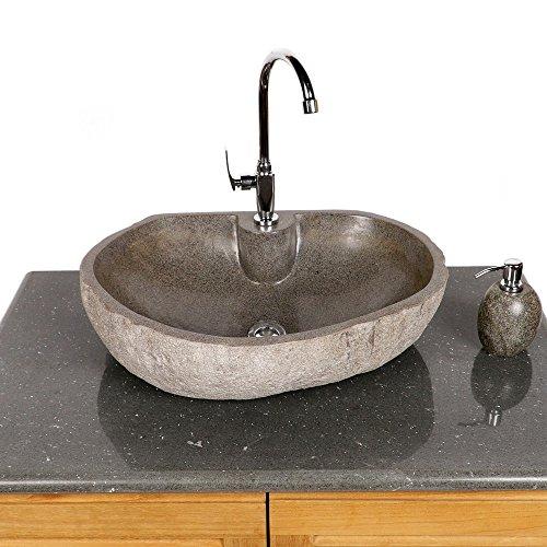 WOHNFREUDEN | Naturstein-Waschbecken 60 cm oval mit gerader Rückwand | Steinwaschbecken | Waschbecken aus Stein | Stein Waschbecken für Gäste WC Bad ✓