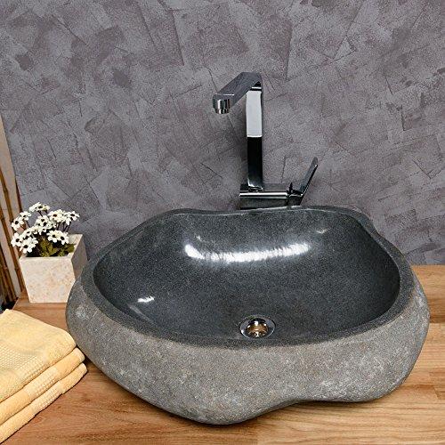 wohnfreuden naturstein waschbecken 60 cm poliert stein aufsatzwaschbecken f r g ste wc bad. Black Bedroom Furniture Sets. Home Design Ideas